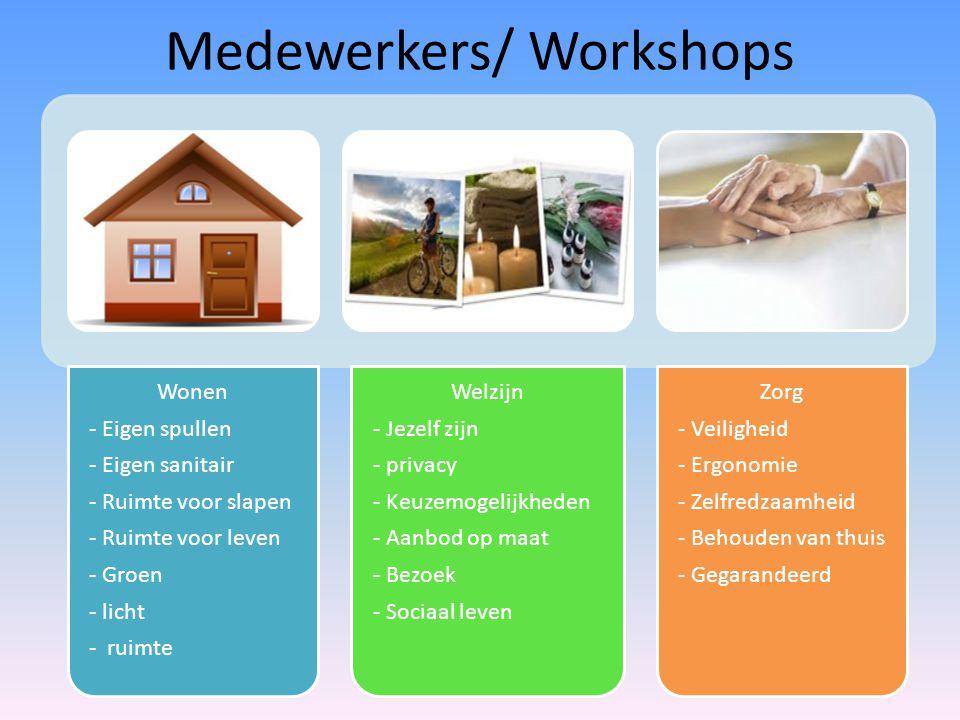 Medewerkers/ Workshops Wonen - Eigen spullen - Eigen sanitair - Ruimte voor slapen - Ruimte voor leven - Groen - licht - ruimte Welzijn - Jezelf zijn