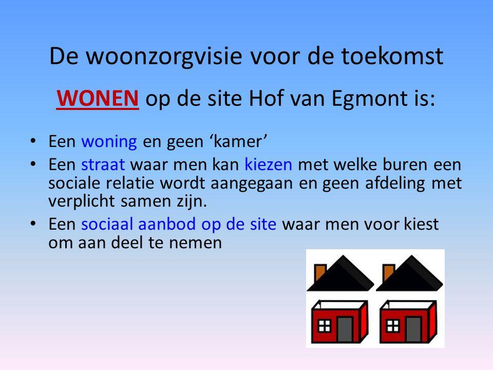 De woonzorgvisie voor de toekomst • Een woning en geen 'kamer' • Een straat waar men kan kiezen met welke buren een sociale relatie wordt aangegaan en
