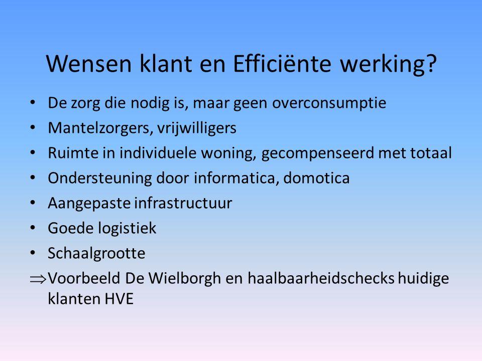 Wensen klant en Efficiënte werking? • De zorg die nodig is, maar geen overconsumptie • Mantelzorgers, vrijwilligers • Ruimte in individuele woning, ge