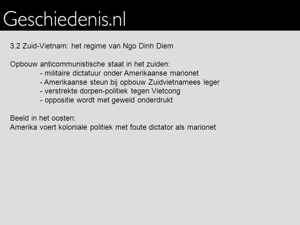3.2 Zuid-Vietnam: het regime van Ngo Dinh Diem Opbouw anticommunistische staat in het zuiden: - militaire dictatuur onder Amerikaanse marionet - Ameri