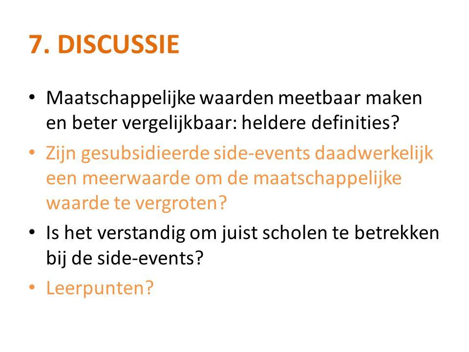 7.DISCUSSIE • Maatschappelijke waarden meetbaar maken en beter vergelijkbaar: heldere definities.