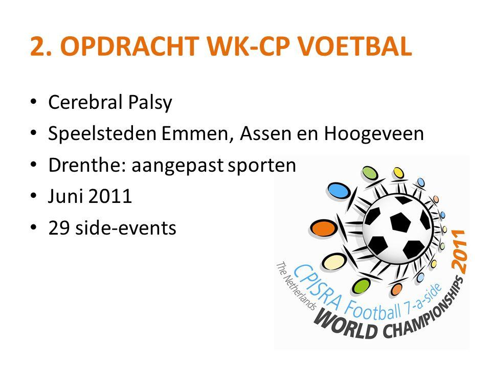 2. OPDRACHT WK-CP VOETBAL • Cerebral Palsy • Speelsteden Emmen, Assen en Hoogeveen • Drenthe: aangepast sporten • Juni 2011 • 29 side-events