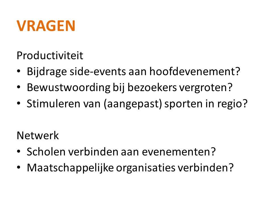 VRAGEN Productiviteit • Bijdrage side-events aan hoofdevenement.