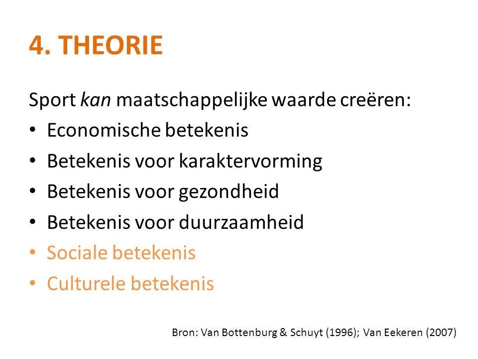 4. THEORIE Sport kan maatschappelijke waarde creëren: • Economische betekenis • Betekenis voor karaktervorming • Betekenis voor gezondheid • Betekenis