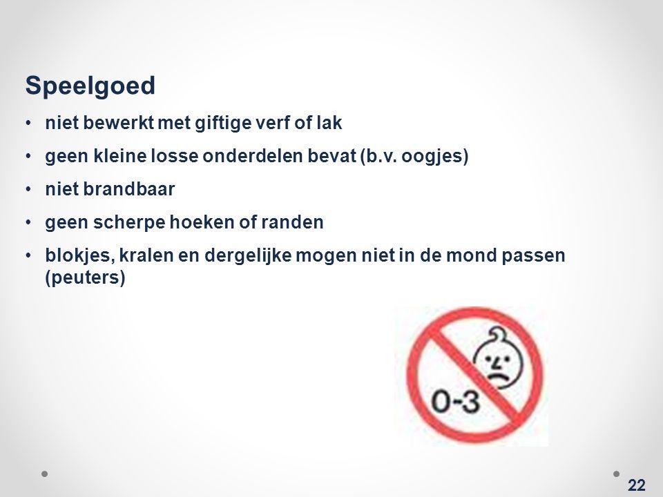 22 Speelgoed •niet bewerkt met giftige verf of lak •geen kleine losse onderdelen bevat (b.v.