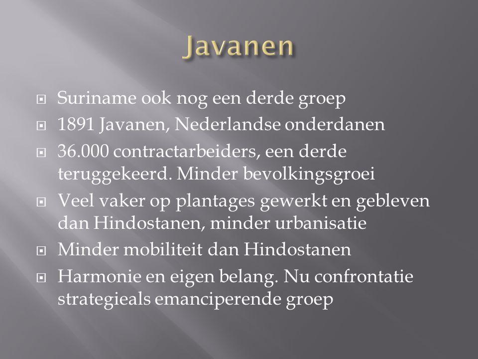  Suriname ook nog een derde groep  1891 Javanen, Nederlandse onderdanen  36.000 contractarbeiders, een derde teruggekeerd. Minder bevolkingsgroei 