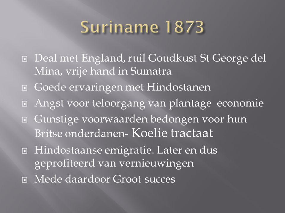  Deal met England, ruil Goudkust St George del Mina, vrije hand in Sumatra  Goede ervaringen met Hindostanen  Angst voor teloorgang van plantage ec