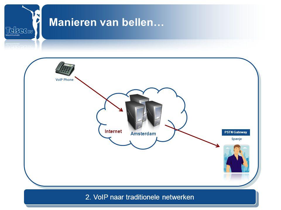 2. VoIP naar traditionele netwerken Internet Amsterdam VoIP Phone PSTN Gateway Spanje Manieren van bellen…