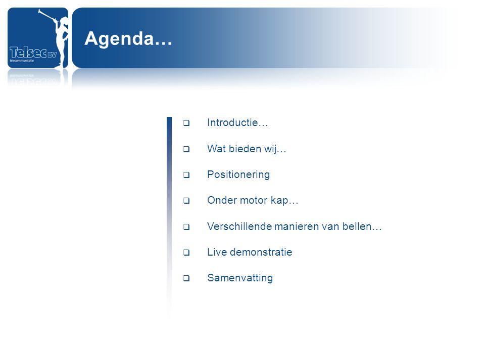 Introductie…  Wat bieden wij…  Positionering  Onder motor kap…  Verschillende manieren van bellen…  Live demonstratie  Samenvatting Agenda…