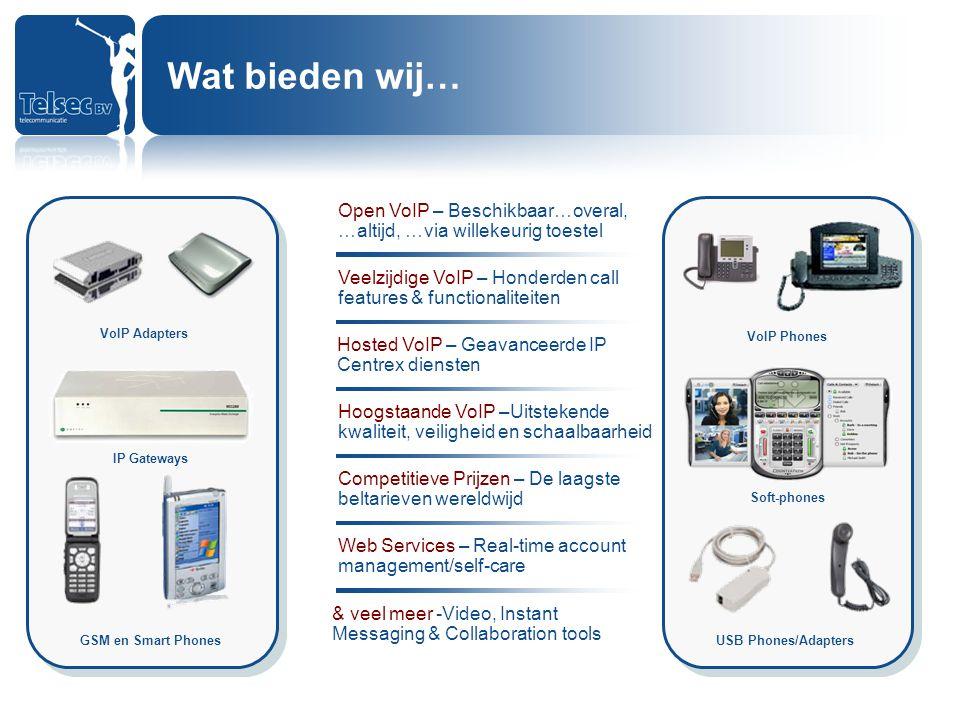 VoIP Adapters IP Gateways GSM en Smart Phones Soft-phones VoIP Phones USB Phones/Adapters Open VoIP – Beschikbaar…overal, …altijd, …via willekeurig to