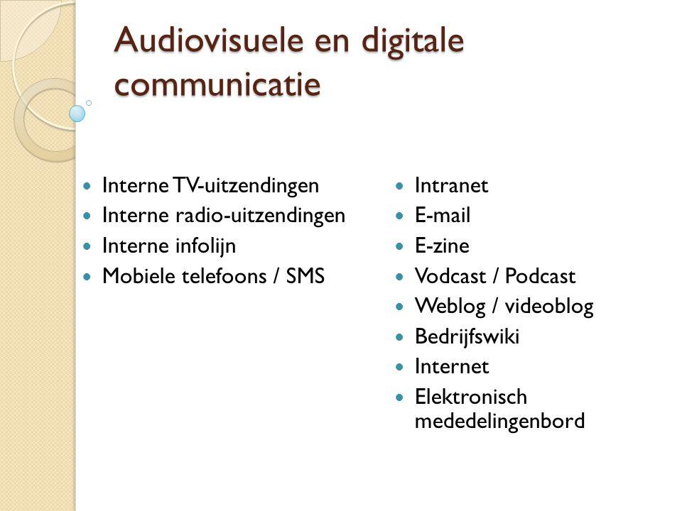 Audiovisuele en digitale communicatie  Interne TV-uitzendingen  Interne radio-uitzendingen  Interne infolijn  Mobiele telefoons / SMS  Intranet 