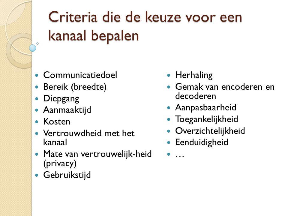 Criteria die de keuze voor een kanaal bepalen  Communicatiedoel  Bereik (breedte)  Diepgang  Aanmaaktijd  Kosten  Vertrouwdheid met het kanaal 