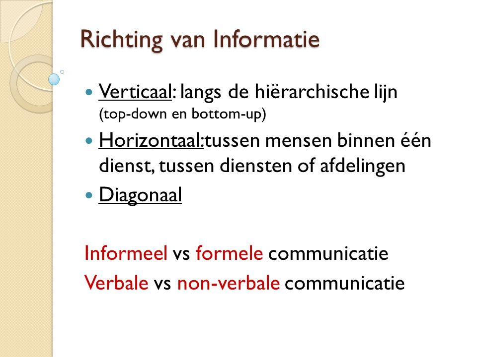Richting van Informatie  Verticaal: langs de hiërarchische lijn (top-down en bottom-up)  Horizontaal:tussen mensen binnen één dienst, tussen dienste