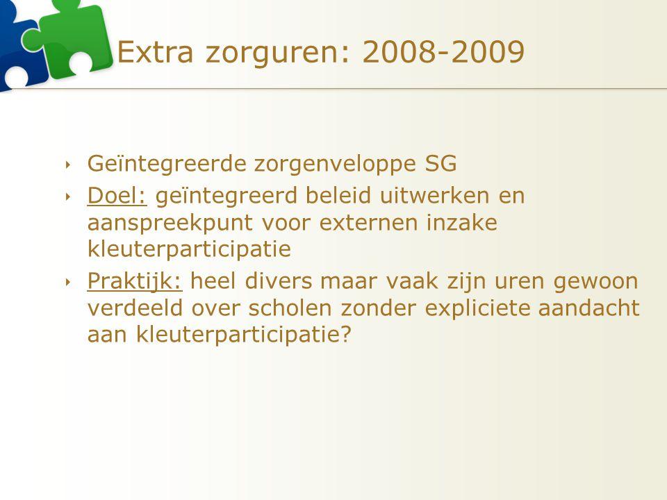 Extra zorguren: 2008-2009  Geïntegreerde zorgenveloppe SG  Doel: geïntegreerd beleid uitwerken en aanspreekpunt voor externen inzake kleuterparticip