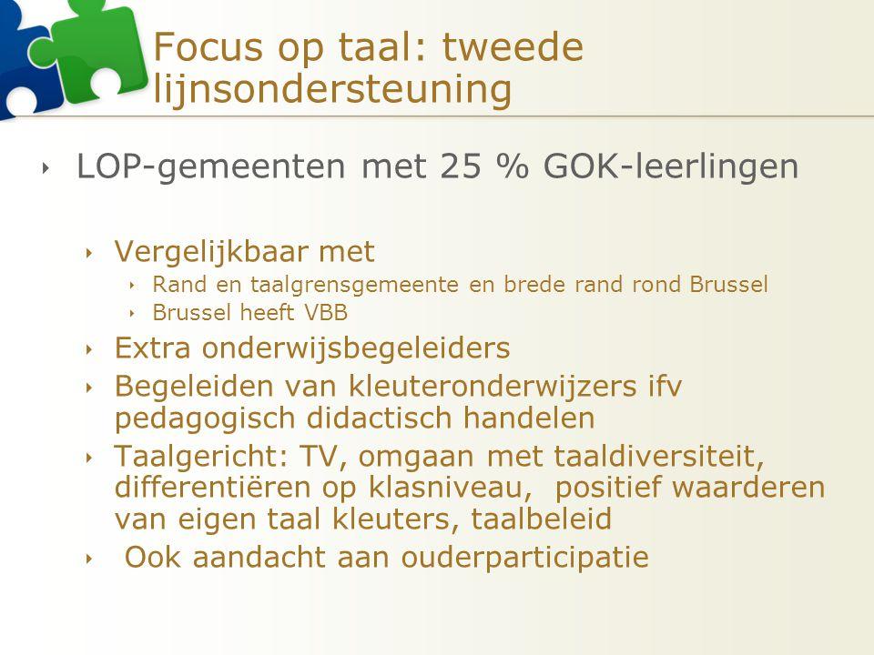Focus op taal: tweede lijnsondersteuning  LOP-gemeenten met 25 % GOK-leerlingen  Vergelijkbaar met  Rand en taalgrensgemeente en brede rand rond Br