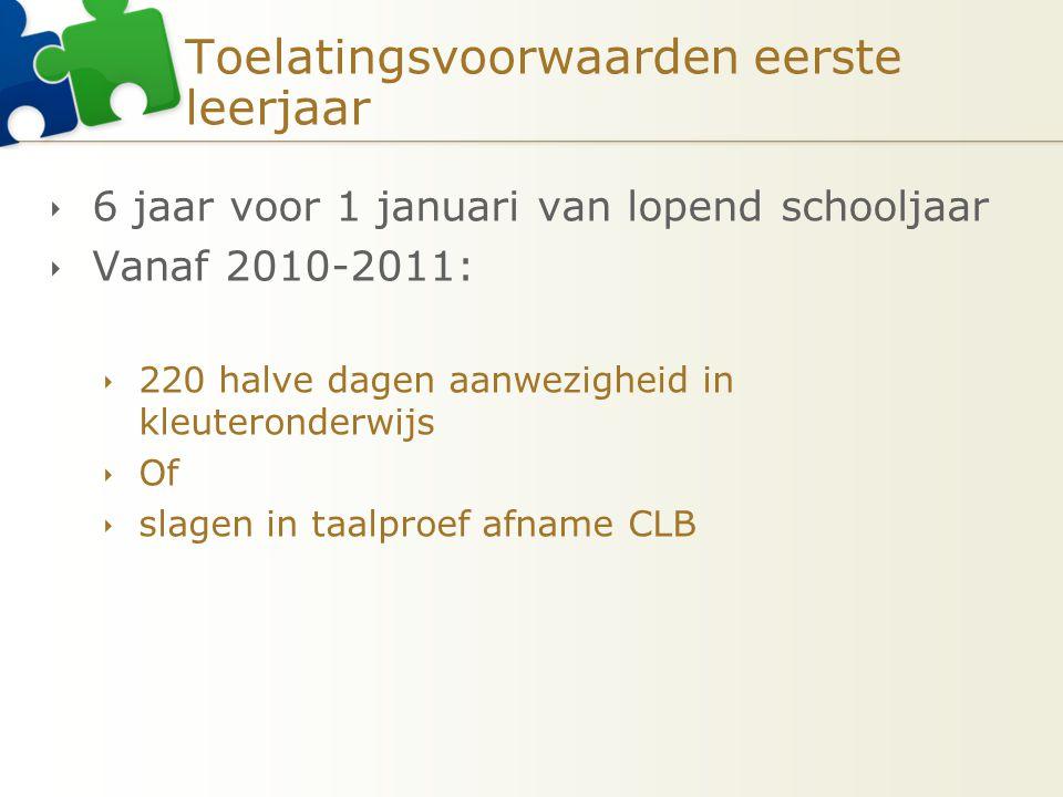 Toelatingsvoorwaarden eerste leerjaar  6 jaar voor 1 januari van lopend schooljaar  Vanaf 2010-2011:  220 halve dagen aanwezigheid in kleuteronderw
