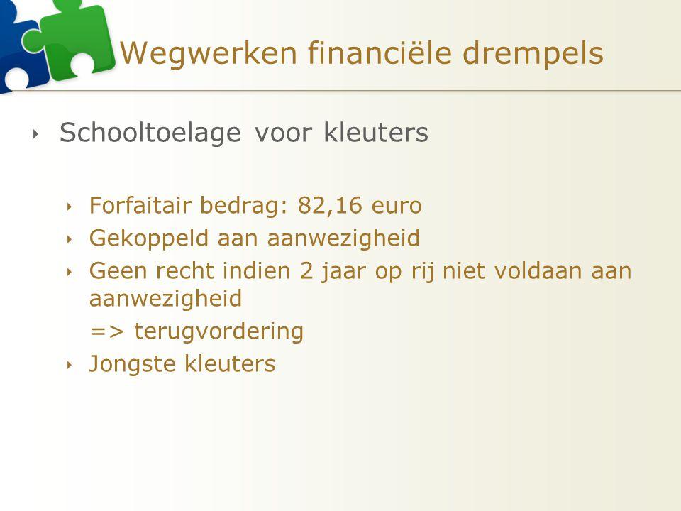 Wegwerken financiële drempels  Schooltoelage voor kleuters  Forfaitair bedrag: 82,16 euro  Gekoppeld aan aanwezigheid  Geen recht indien 2 jaar op
