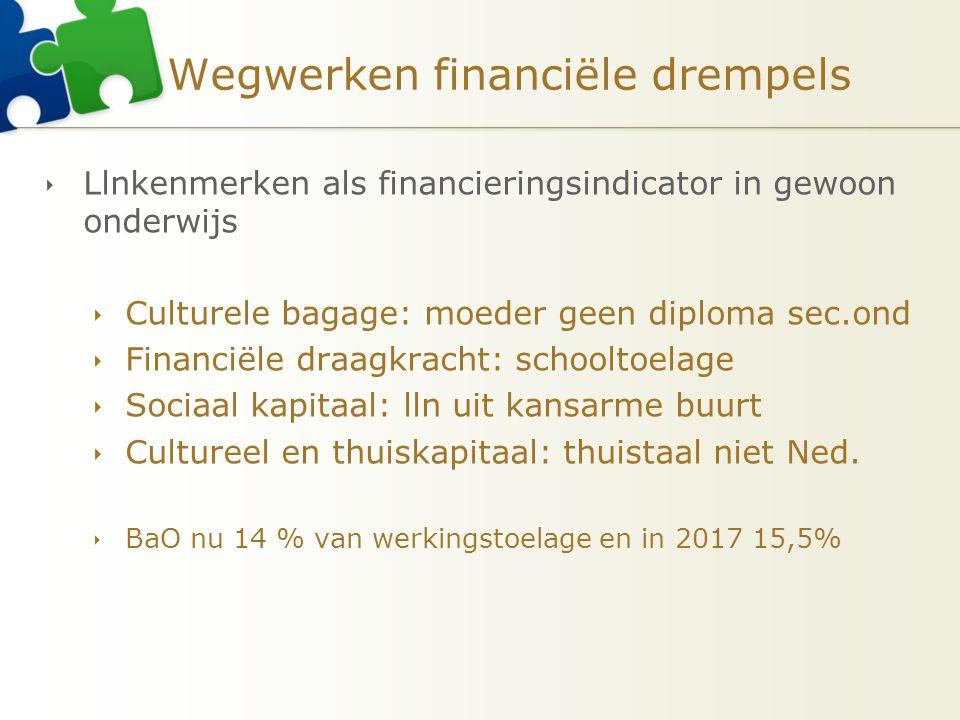 Wegwerken financiële drempels  Llnkenmerken als financieringsindicator in gewoon onderwijs  Culturele bagage: moeder geen diploma sec.ond  Financië