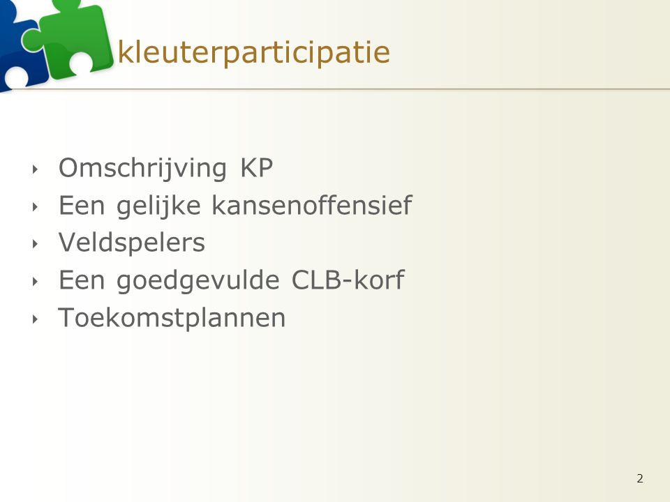 kleuterparticipatie  Omschrijving KP  Een gelijke kansenoffensief  Veldspelers  Een goedgevulde CLB-korf  Toekomstplannen 2