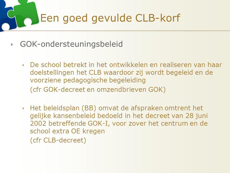 Een goed gevulde CLB-korf  GOK-ondersteuningsbeleid  De school betrekt in het ontwikkelen en realiseren van haar doelstellingen het CLB waardoor zij