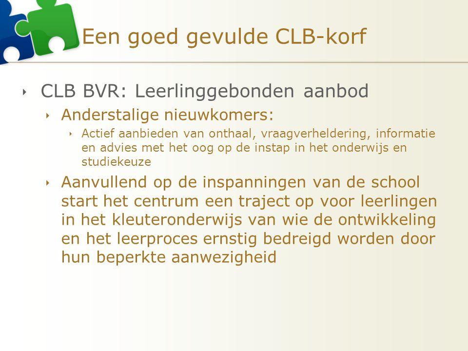Een goed gevulde CLB-korf  CLB BVR: Leerlinggebonden aanbod  Anderstalige nieuwkomers:  Actief aanbieden van onthaal, vraagverheldering, informatie