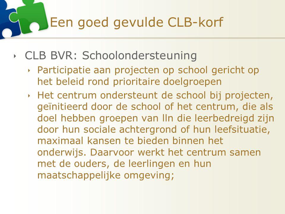 Een goed gevulde CLB-korf  CLB BVR: Schoolondersteuning  Participatie aan projecten op school gericht op het beleid rond prioritaire doelgroepen  H