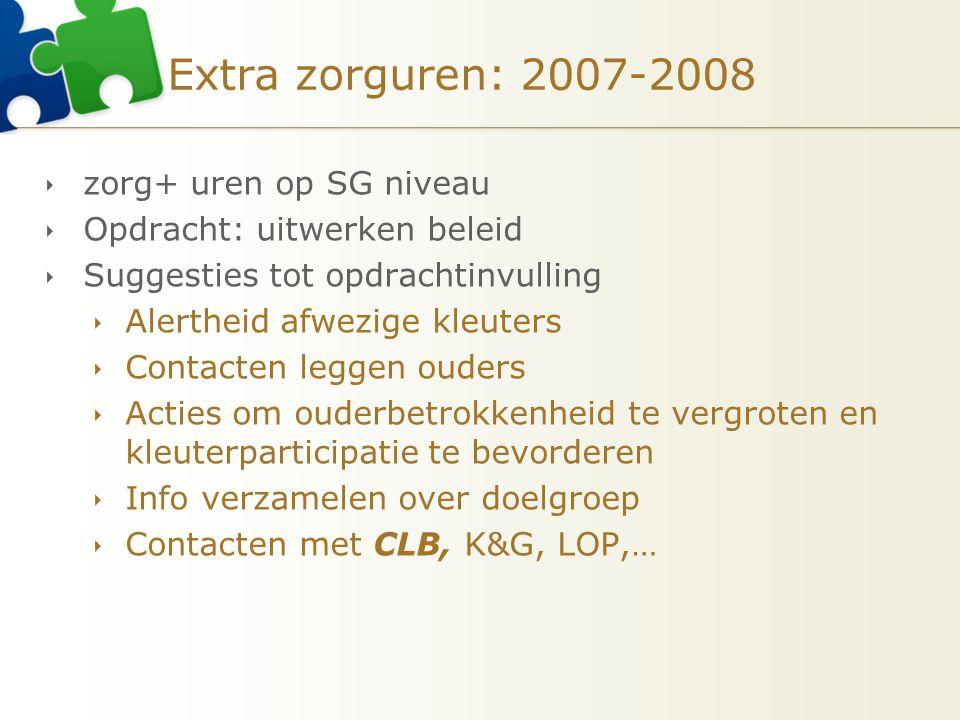 Extra zorguren: 2007-2008  zorg+ uren op SG niveau  Opdracht: uitwerken beleid  Suggesties tot opdrachtinvulling  Alertheid afwezige kleuters  Co