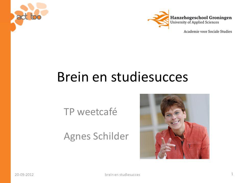 20-09-2012 Voorrangsregels van het brein: • Informatie om te overleven • Emotionele informatie • Aandacht voor het leren van nieuwe dingen brein en studiesucces32
