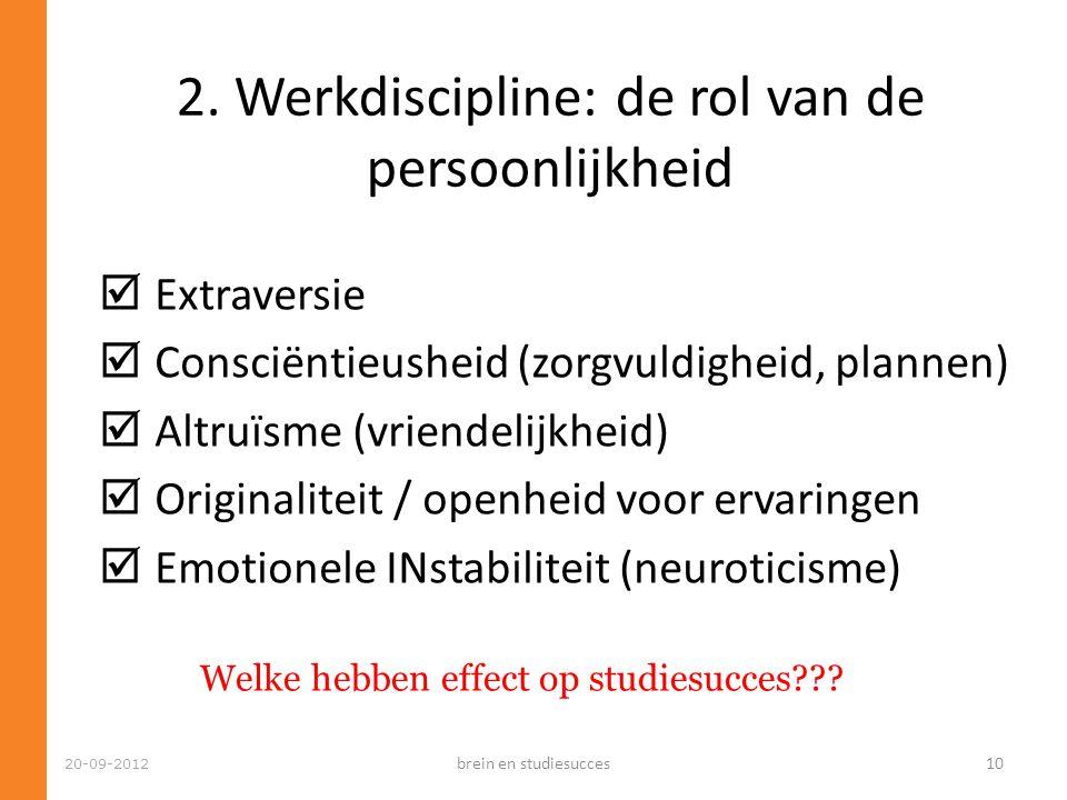 20-09-2012  Extraversie  Consciëntieusheid (zorgvuldigheid, plannen)  Altruïsme (vriendelijkheid)  Originaliteit / openheid voor ervaringen  Emot