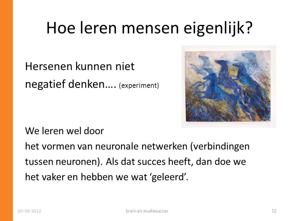 Hoe leren mensen eigenlijk? 20-09-2012 Hersenen kunnen niet negatief denken…. (experiment) We leren wel door het vormen van neuronale netwerken (verbi