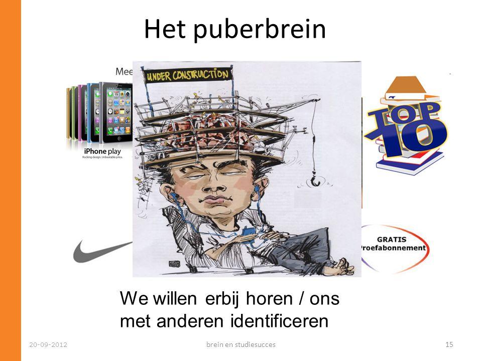 Het puberbrein We willen erbij horen / ons met anderen identificeren 20-09-2012 brein en studiesucces15