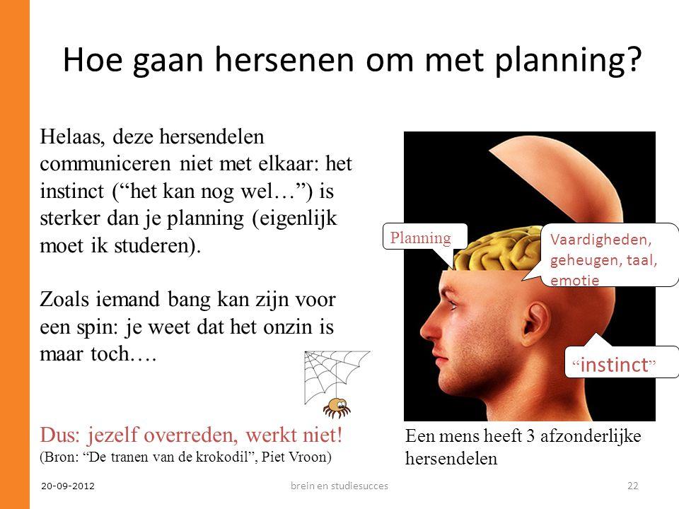 """20-09-2012 Hoe gaan hersenen om met planning? Planning Vaardigheden, geheugen, taal, emotie """" instinct """" Een mens heeft 3 afzonderlijke hersendelen He"""