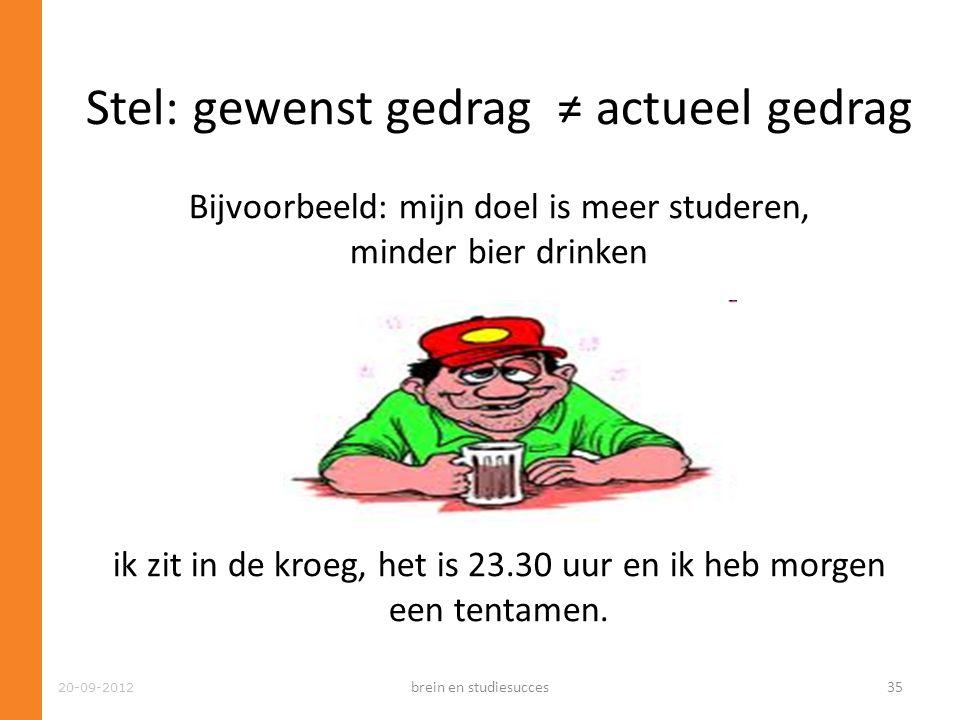 20-09-2012 Stel: gewenst gedrag ≠ actueel gedrag Bijvoorbeeld: mijn doel is meer studeren, minder bier drinken Maar…. ik zit in de kroeg, het is 23.30
