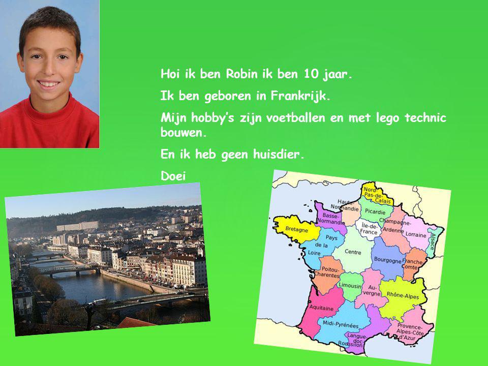 Hoi ik ben Robin ik ben 10 jaar. Ik ben geboren in Frankrijk. Mijn hobby's zijn voetballen en met lego technic bouwen. En ik heb geen huisdier. Doei
