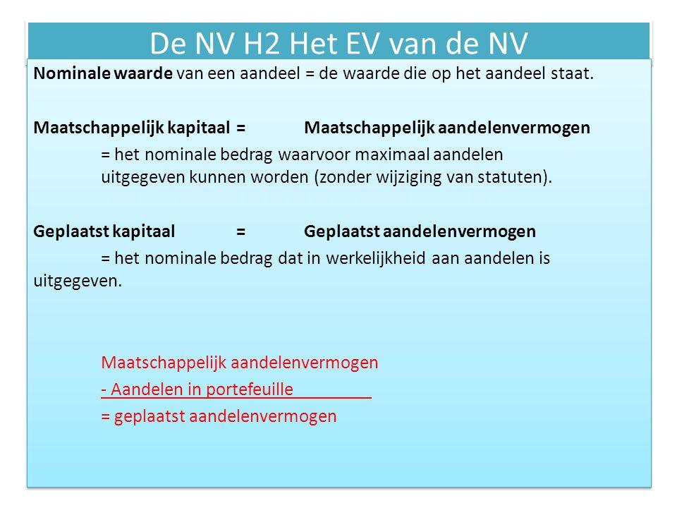 De NV H2 Het EV van de NV Nominale waarde van een aandeel = de waarde die op het aandeel staat. Maatschappelijk kapitaal=Maatschappelijk aandelenvermo