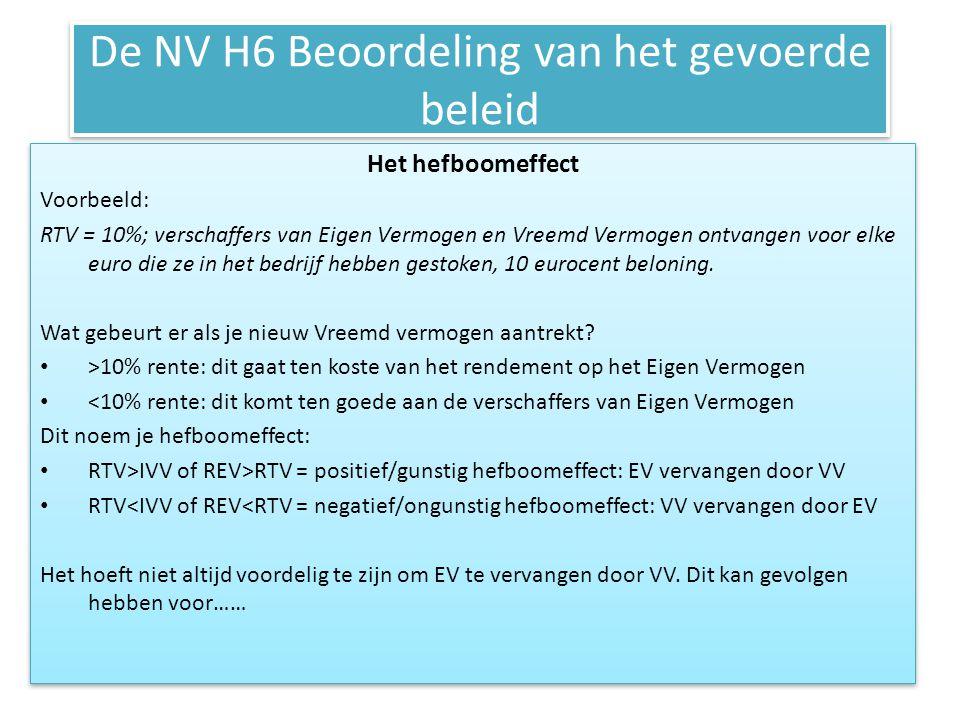De NV H6 Beoordeling van het gevoerde beleid Het hefboomeffect Voorbeeld: RTV = 10%; verschaffers van Eigen Vermogen en Vreemd Vermogen ontvangen voor