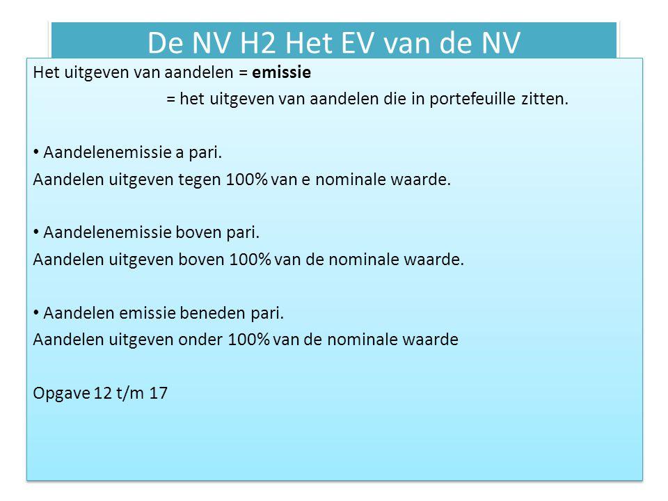 De NV H2 Het EV van de NV Het uitgeven van aandelen = emissie = het uitgeven van aandelen die in portefeuille zitten. • Aandelenemissie a pari. Aandel