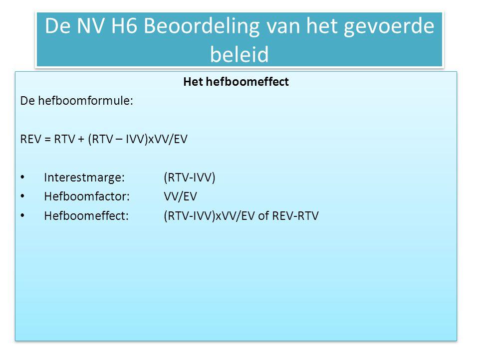 De NV H6 Beoordeling van het gevoerde beleid Het hefboomeffect De hefboomformule: REV = RTV + (RTV – IVV)xVV/EV • Interestmarge:(RTV-IVV) • Hefboomfac