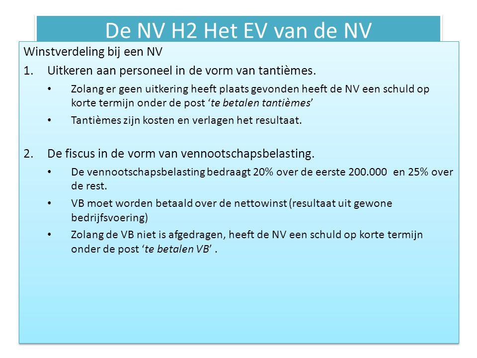 De NV H2 Het EV van de NV Winstverdeling bij een NV 1.Uitkeren aan personeel in de vorm van tantièmes. • Zolang er geen uitkering heeft plaats gevonde