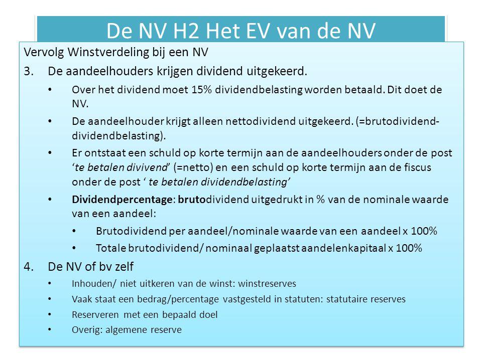 De NV H2 Het EV van de NV Vervolg Winstverdeling bij een NV 3.De aandeelhouders krijgen dividend uitgekeerd. • Over het dividend moet 15% dividendbela