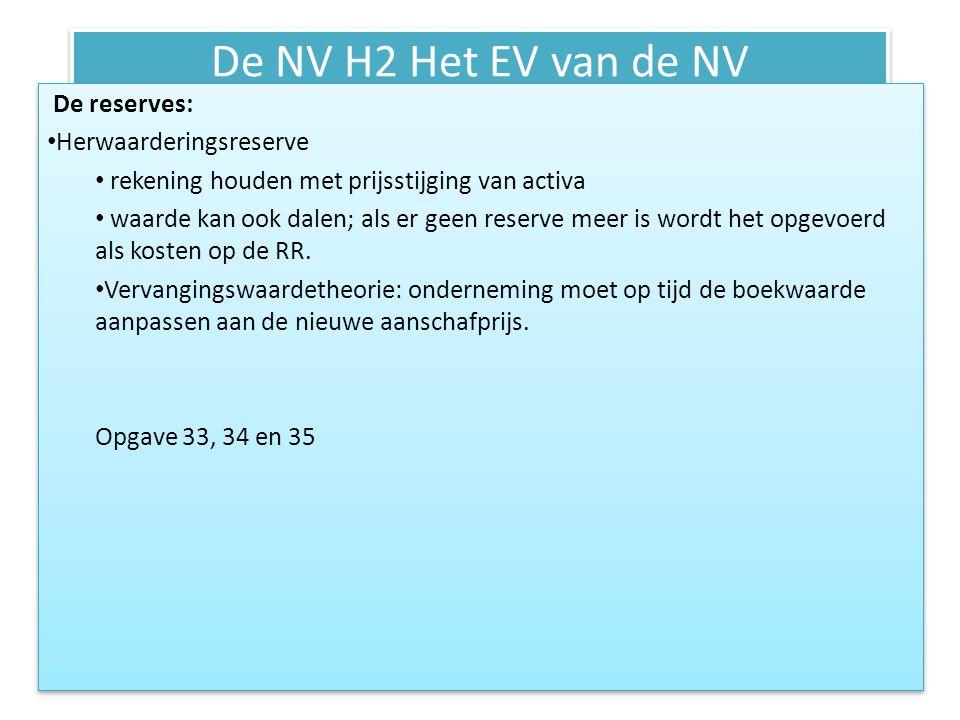 De NV H2 Het EV van de NV De reserves: • Herwaarderingsreserve • rekening houden met prijsstijging van activa • waarde kan ook dalen; als er geen rese