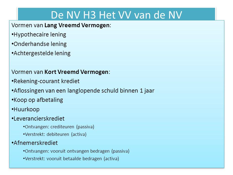 De NV H3 Het VV van de NV Vormen van Lang Vreemd Vermogen: • Hypothecaire lening • Onderhandse lening • Achtergestelde lening Vormen van Kort Vreemd V