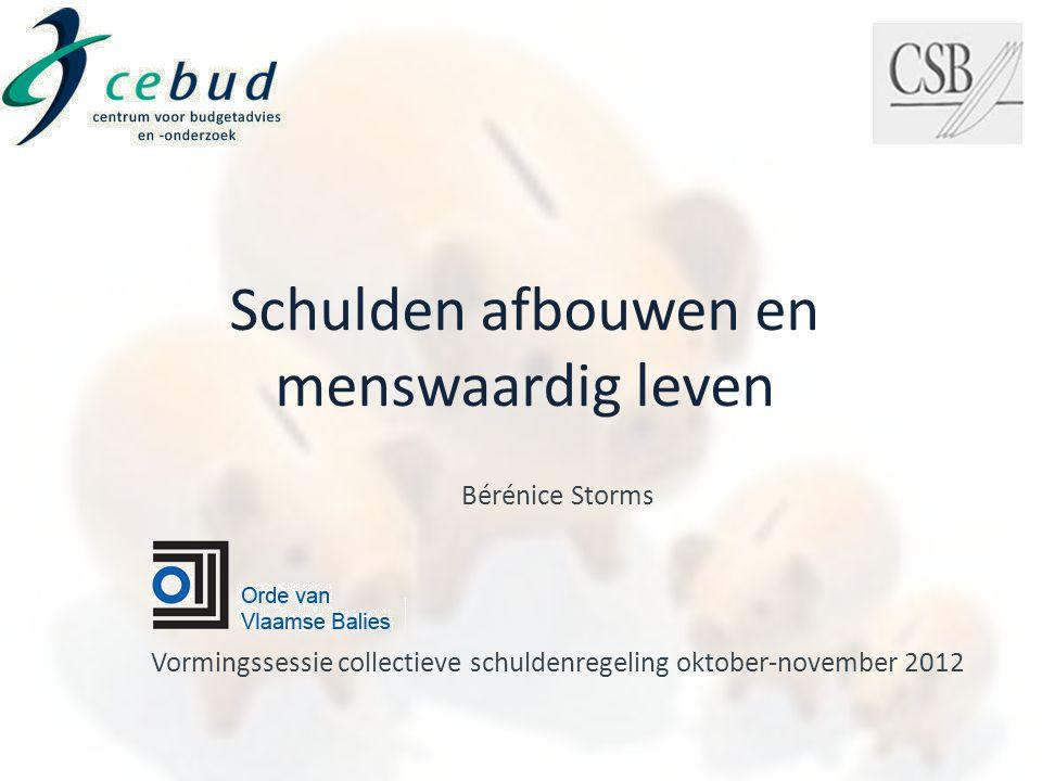 Bérénice Storms Vormingssessie collectieve schuldenregeling oktober-november 2012 Schulden afbouwen en menswaardig leven