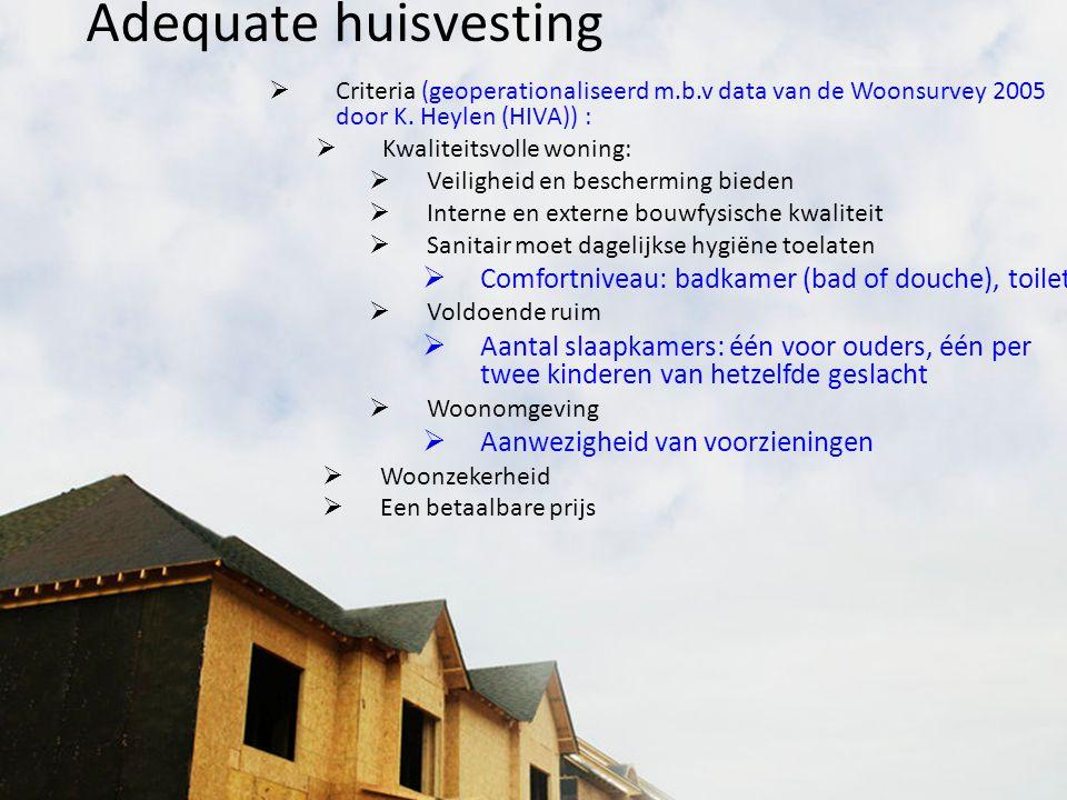 Adequate huisvesting  Criteria (geoperationaliseerd m.b.v data van de Woonsurvey 2005 door K. Heylen (HIVA)) :  Kwaliteitsvolle woning:  Veiligheid