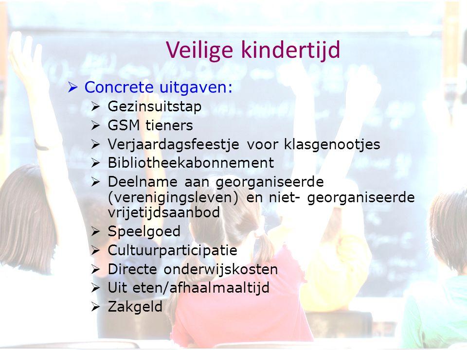 Veilige kindertijd  Concrete uitgaven:  Gezinsuitstap  GSM tieners  Verjaardagsfeestje voor klasgenootjes  Bibliotheekabonnement  Deelname aan g