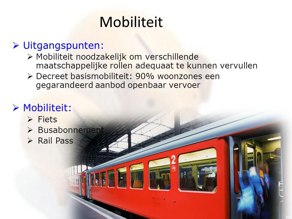 Mobiliteit  Uitgangspunten:  Mobiliteit noodzakelijk om verschillende maatschappelijke rollen adequaat te kunnen vervullen  Decreet basismobiliteit