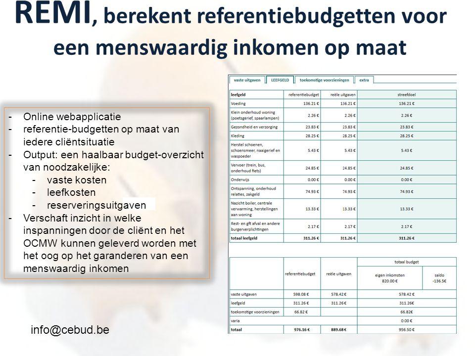 REMI, berekent referentiebudgetten voor een menswaardig inkomen op maat -Online webapplicatie -referentie-budgetten op maat van iedere cliëntsituatie