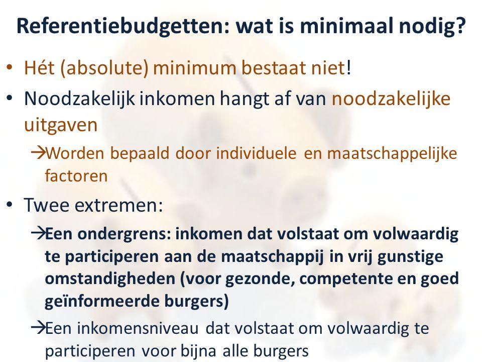 Referentiebudgetten: wat is minimaal nodig? • Hét (absolute) minimum bestaat niet! • Noodzakelijk inkomen hangt af van noodzakelijke uitgaven  Worden