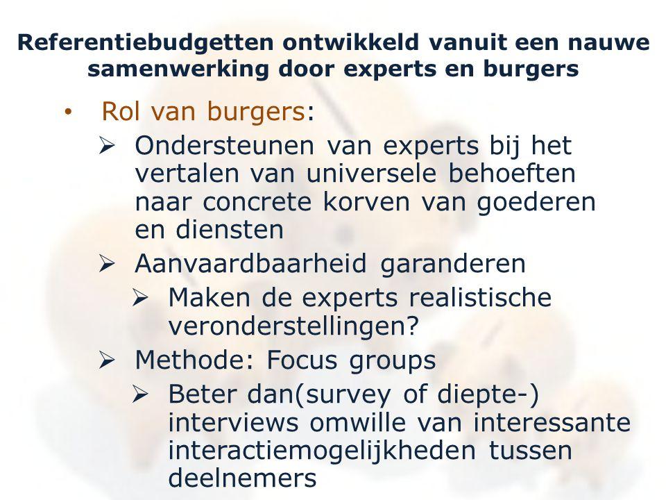 Referentiebudgetten ontwikkeld vanuit een nauwe samenwerking door experts en burgers • Rol van burgers:  Ondersteunen van experts bij het vertalen va