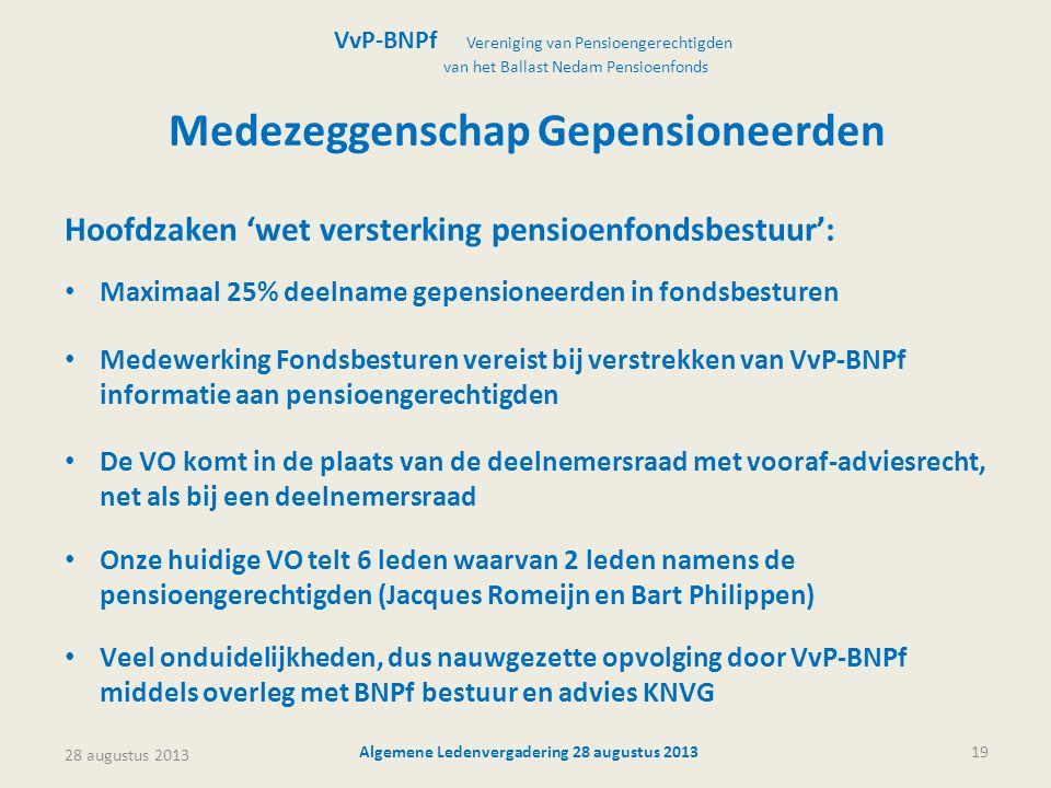 28 augustus 2013 Algemene Ledenvergadering 28 augustus 201319 Medezeggenschap Gepensioneerden Hoofdzaken 'wet versterking pensioenfondsbestuur': • Max